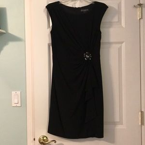 Black Ruched Dress with Cascading Ruffle